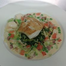Cod Fillet with a Smoked Haddock and Bacon Cream